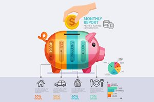 Money Saving Report Infographics.
