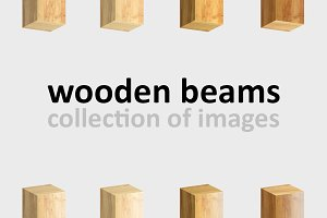Wooden beams. Collection of images