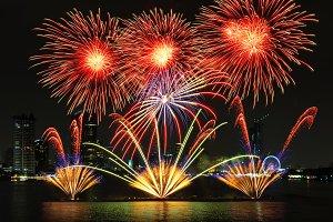 Fantastic fireworks over the river
