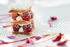 Slice of mille-feuille cake