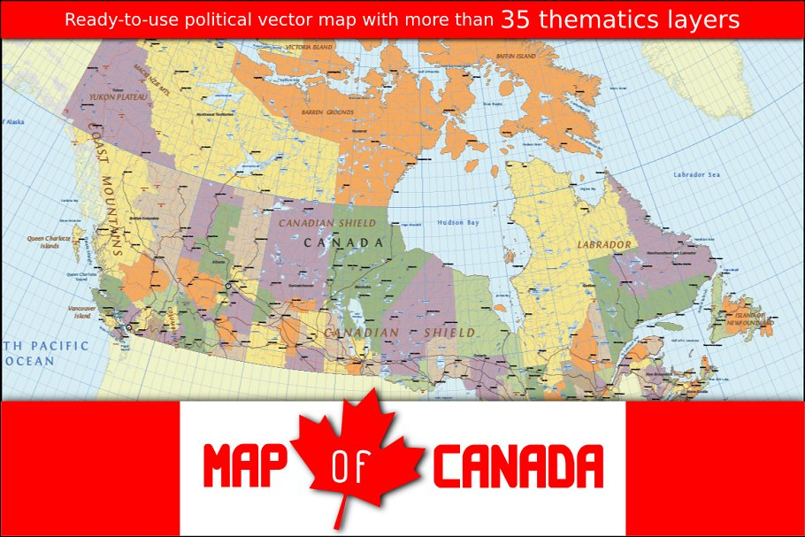 Vector Map of Canada ~ Illustrations ~ Creative Market on