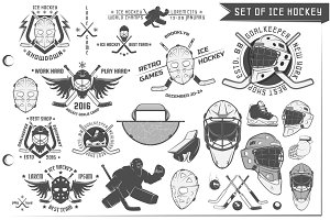 24 in 1 Ice Hockey design elements
