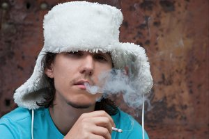 Fur winter fashion hat young man