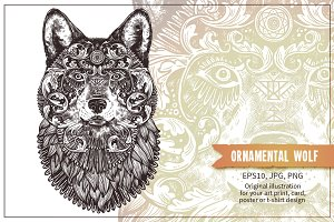 Ornamental Hand Drawn Wolf