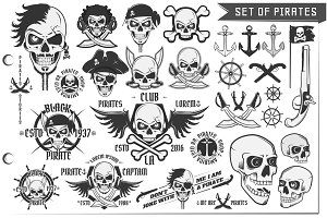 30 in 1 Pirates design elements