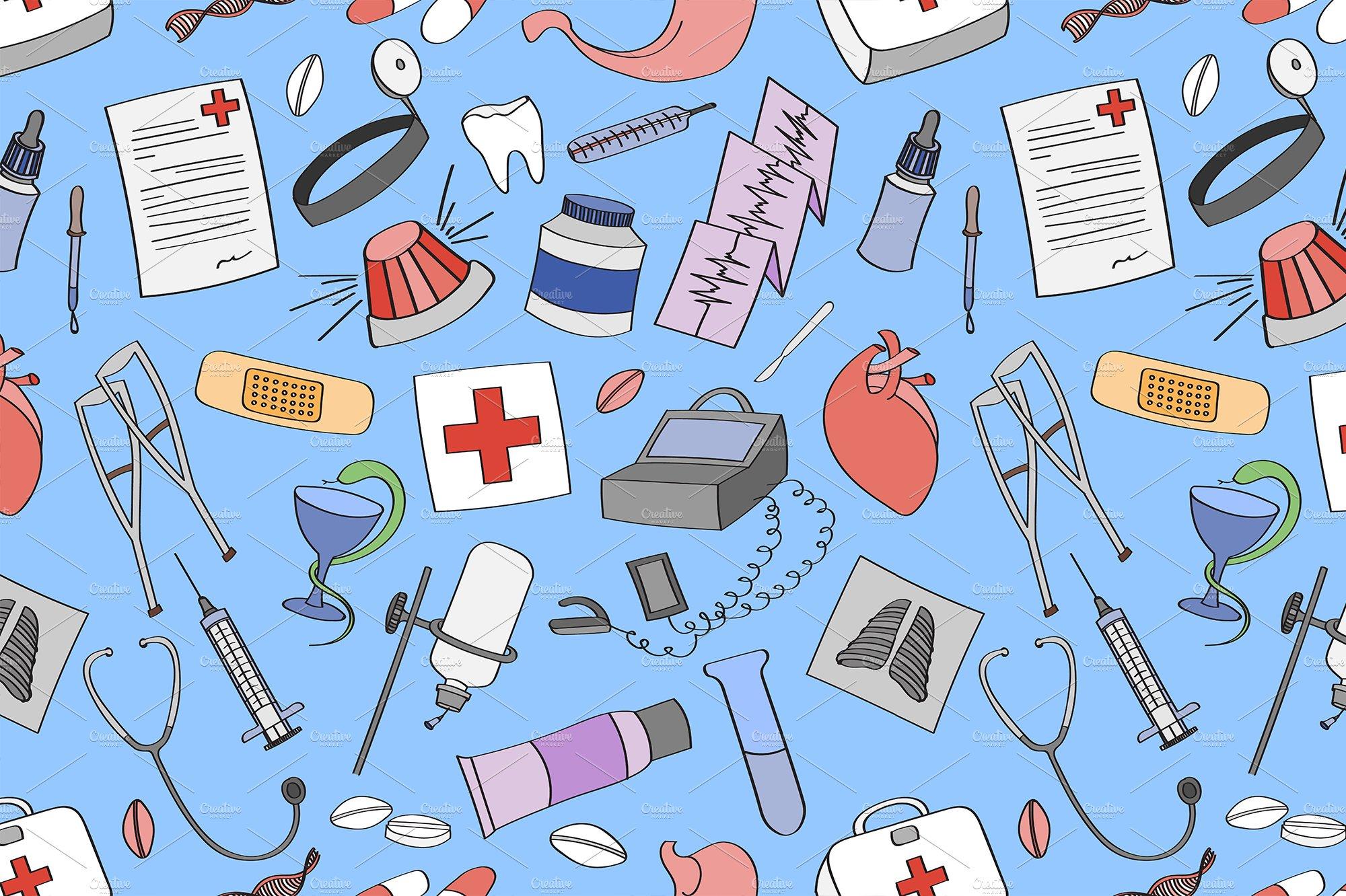 doodle pattern medical graphic patterns creative market