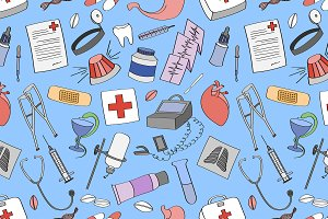 Doodle pattern Medical