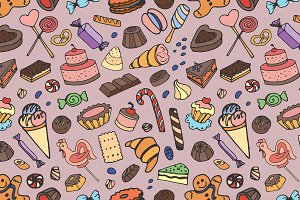 Doodle pattern sweets