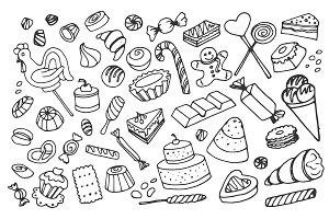 Doodle vector sweets