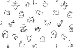 Seamless pattern Hand drawn Farm