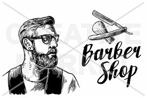 Hipster shave haircut. BarberShop