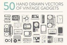 50 hand drawn vector vintage gadgets
