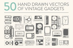 50 hand drawn vector vintage gadgets