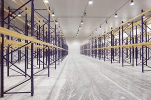 Large newly built warehouse, toned