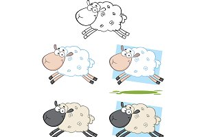 Sheep Characters Jumping Collection