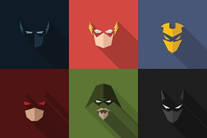 SuperHeroes Masks Flat (Set 01)