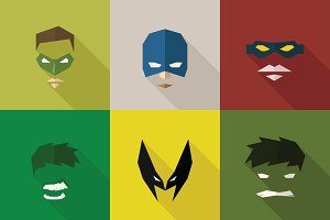 SuperHeroes Masks Flat (Set 02)