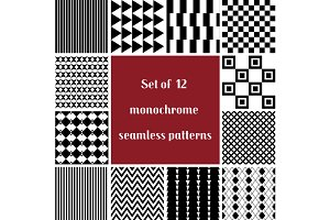 12 black and white seamless patters