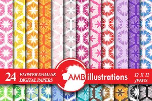 Damask Digital Papers, AMB-1154