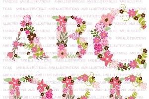 Floral Letter Clipart, AMB-1104A