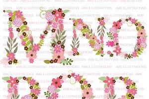 Floral Letter Clipart, AMB-1104C