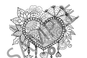 Dream catcher for coloring book
