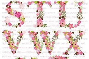 Floral Letter Clipart, AMB-1104D