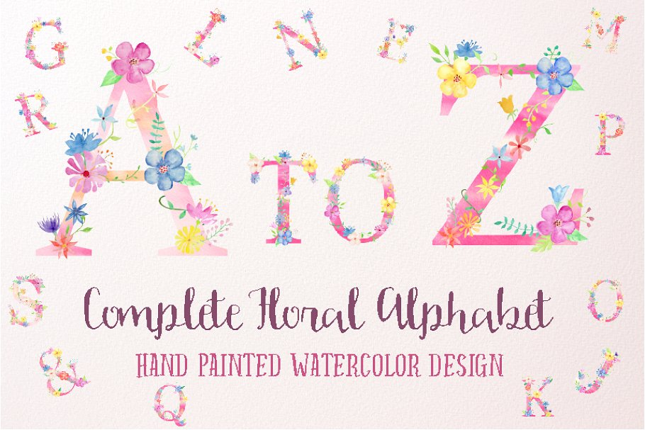 Pink Floral Alphabet A to Z ~ Graphic Objects ~ Creative Market