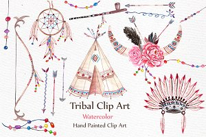 Watercolor Tribal clip art set