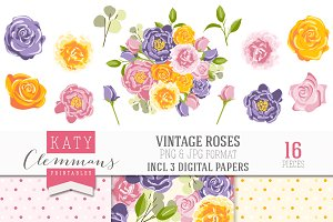 Vintage Roses clip art & papers