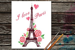 Red rose and Eiffel Tower