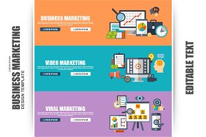 Set of Flat Business Marketing