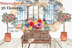 Watercolor wedding clipart