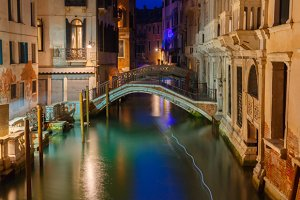 Venice canal at night