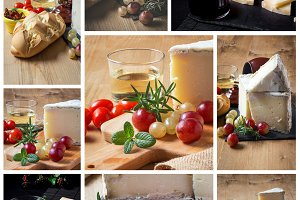 Collage of close-up of glass of wine