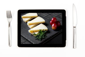 Typical cheese on tablet