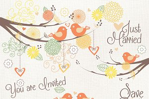 Orange bird wedding clipart vector
