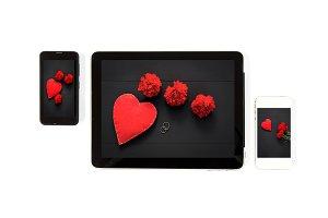 Tablet concept Valentine´es day
