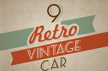 9 Retro Vintage Car - editable color