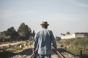 Portraot of man on the railway