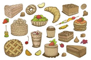Hand Drawn Desserts Vector Set