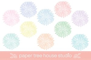 10 Watercolor Flower Files