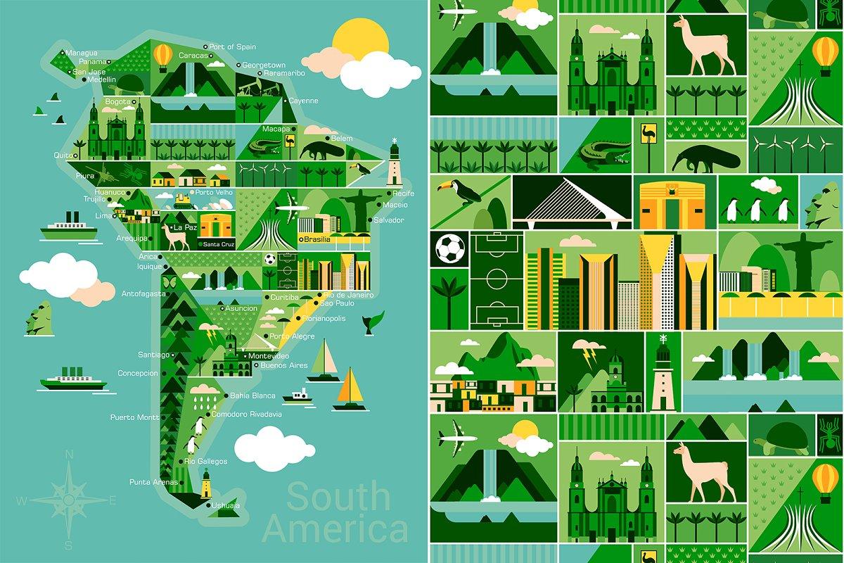 Cartoon map of South America ~ Illustrations ~ Creative Market on