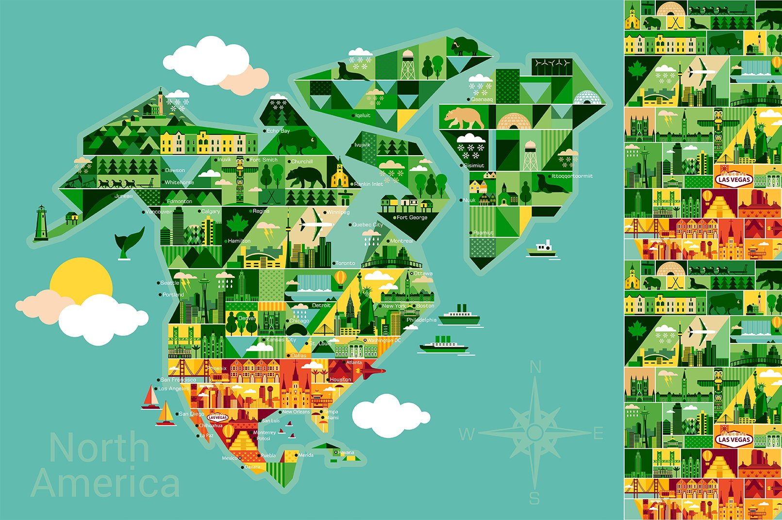 Cartoon Map Of North America  Illustrations On Creative Market - Map of north america las vegas