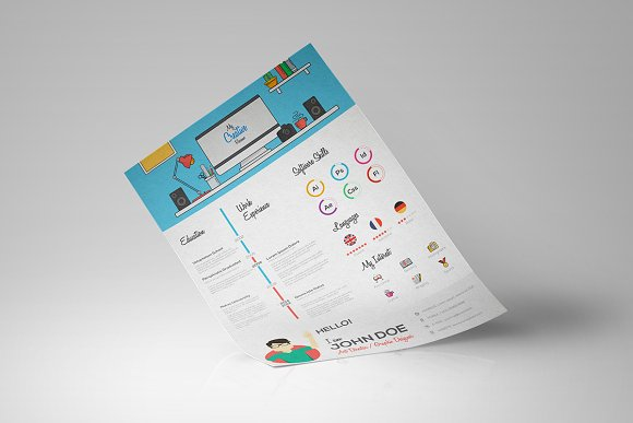 flat resume with infographics illustrations creative market