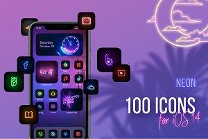 100 Neon Iphone Ios 14 App Icons Pre Designed Photoshop Graphics Creative Market