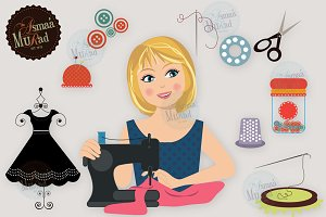 Sewing clipart Woman Character