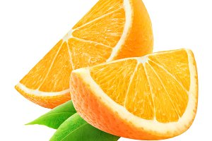 Isolated orange slices with leaf