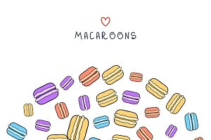 Background with scattered macaroons