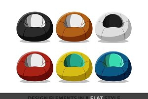 Flexible seat beanbag in flat style